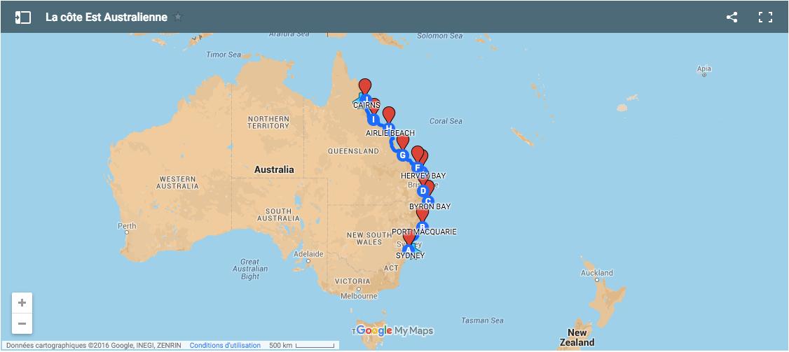 carte cote voyage est australie