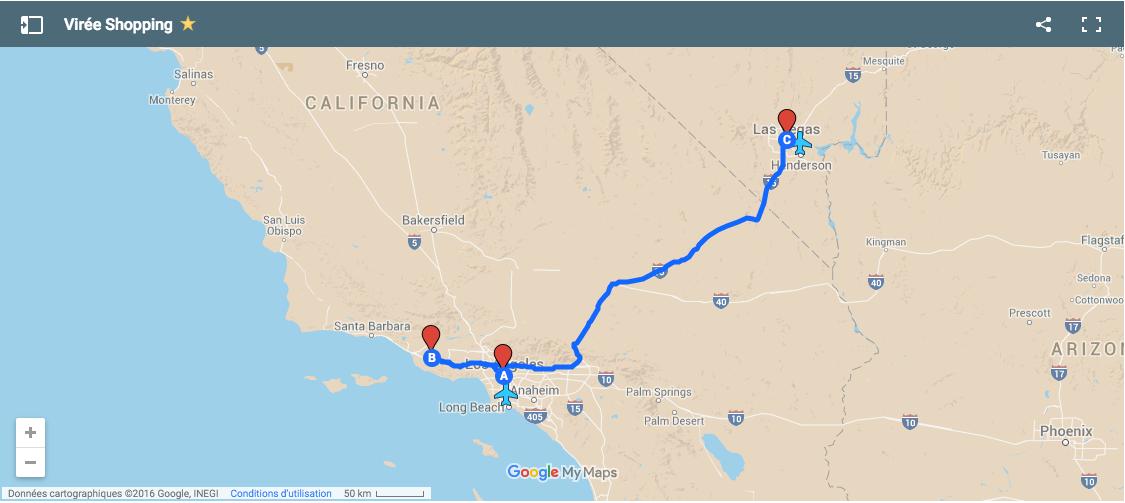 carte voyage ouest amerique road trip