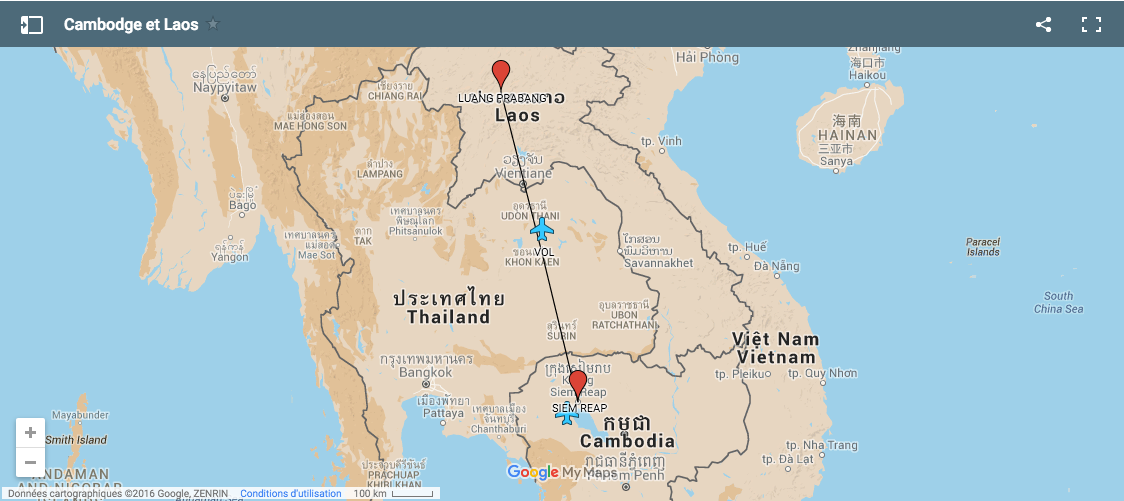 carte laos et cambodge