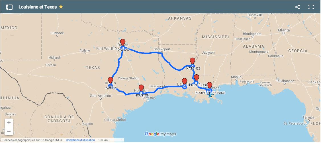 carte road trip texas nouvelle orleans