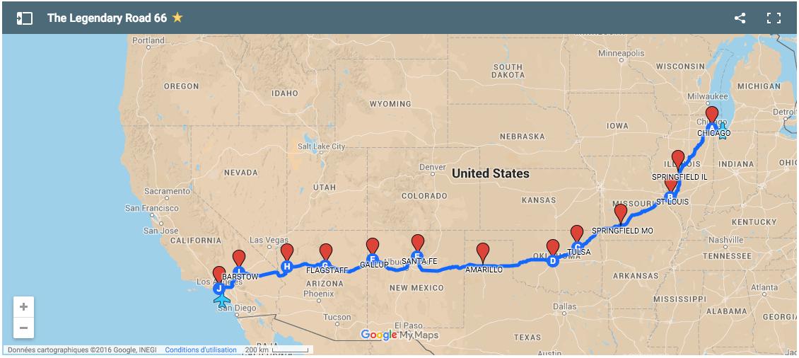 carte route 66 états-unis
