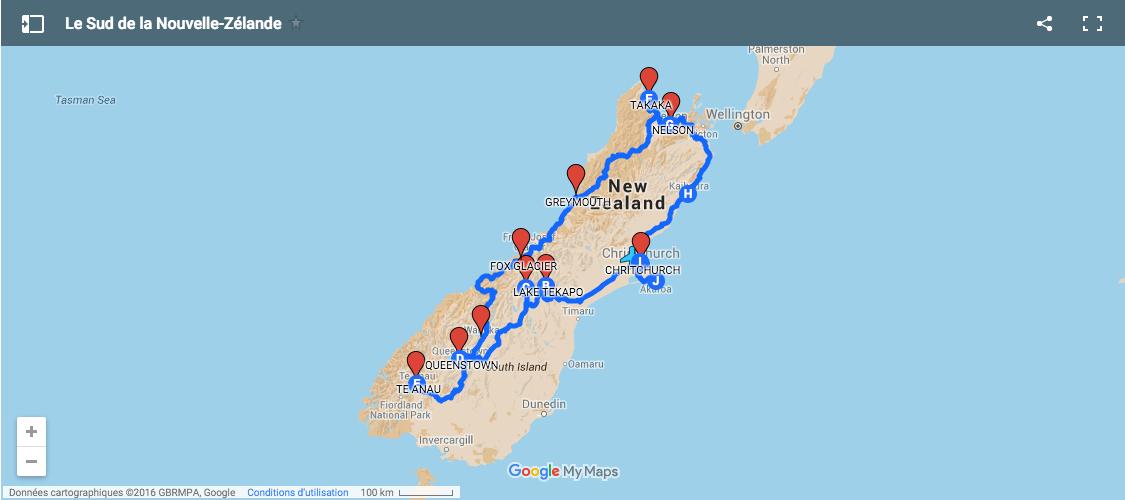 voyage carte sud de la nouvelle zelande